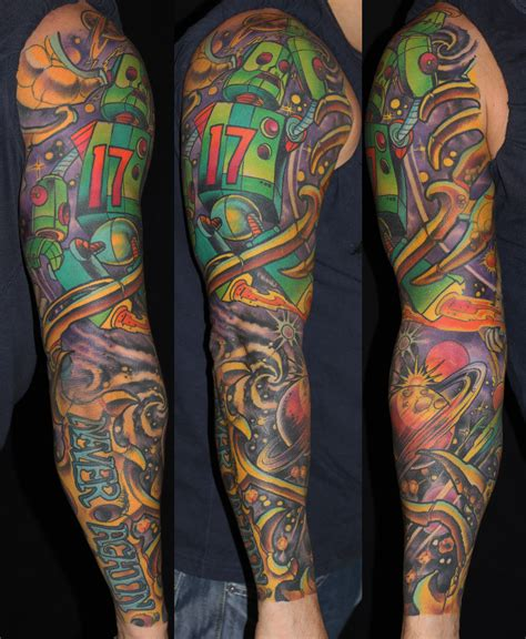 robot sleeve tattoo designs colourful robot arm tattoomagz