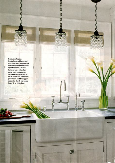 Sink Lighting Kitchen I Like How They Paired The Pendants With A Different But Coordinating Beaded Surface Mount