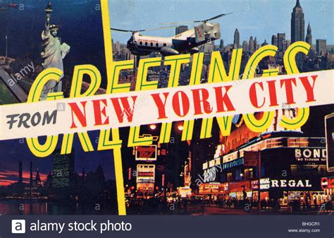 Greetings From New York City by Greetings From New York City Postcard 1961 Stock Photo