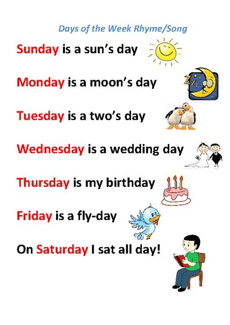 day song song worksheet days of the week rhyme song