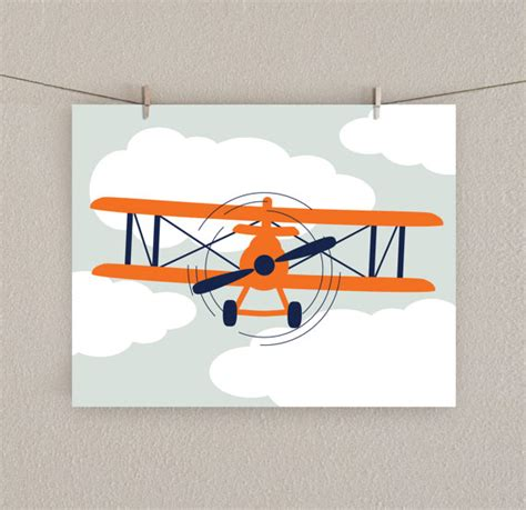 Aviation Nursery Decor Airplane Decor Boy Nursery Print Orange Navy Blue