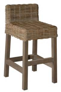 wicker counter stool with low back