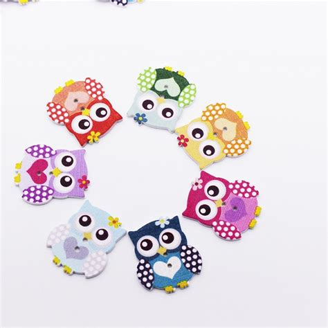 10 Pcs 3 5 Cm Wooden Button Kancing Kayu Basic Rainbow 50pcs owl buttons 2 holes wooden buttons sewing buttons