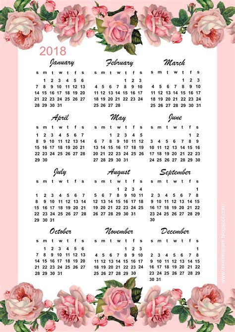 free printable 2018 calendar year at a glance