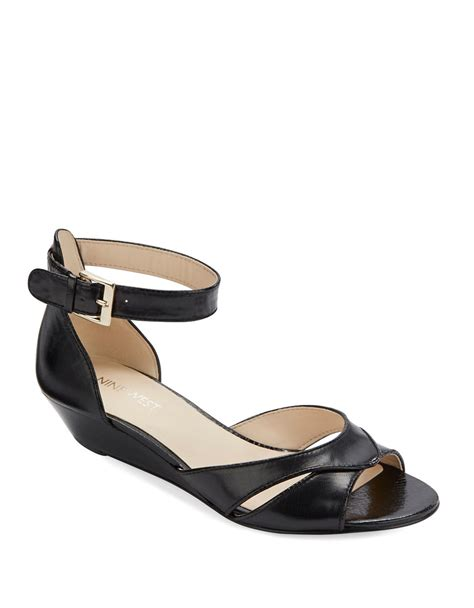 nine west sandals nine west verasco leather wedge sandals in black lyst