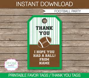Favor Cards by Football Favor Tags Thank You Tags Birthday