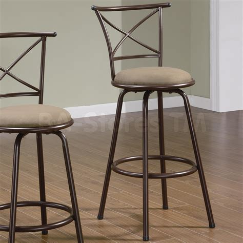 29 quot x back style metal bar stools in brown set of 2 stools coaster