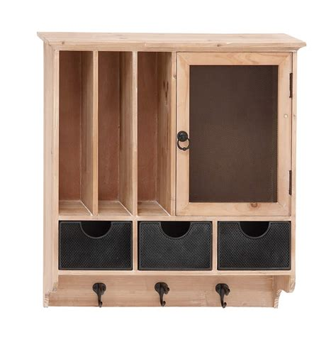 wooden wall hanging cabinet metal hooks details drawers