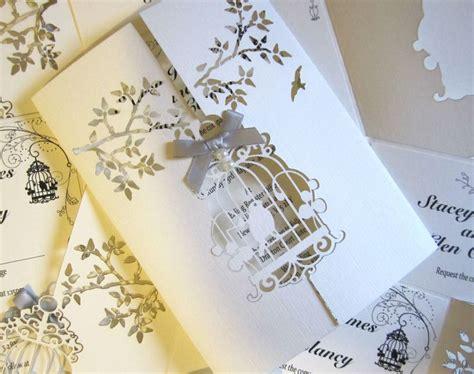 wedding invitation laser bird cage insert envelope