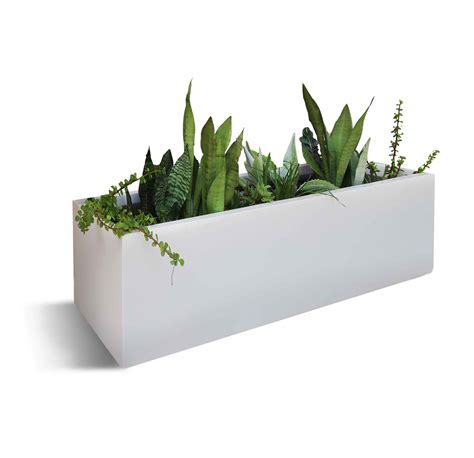 Contemporary planter boxes with modern rectangle white cement design