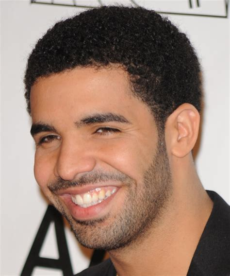 drake short curly casual afro hairstyle black hair color