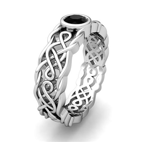 solitaire black ring platinum mens celtic wedding band