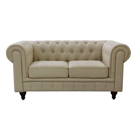 button tufted loveseat grace chesterfield linen fabric upholstered button tufted