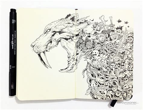 doodle pen beautifully detailed pen doodles by artist kerby rosanes