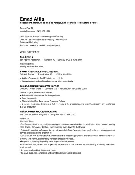 Food Broker Sle Resume by Real Estate And Service And Sales Resume