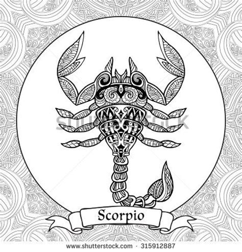 coloring pages zodiac signs coloring page zodiac sign scorpio in zentangle style