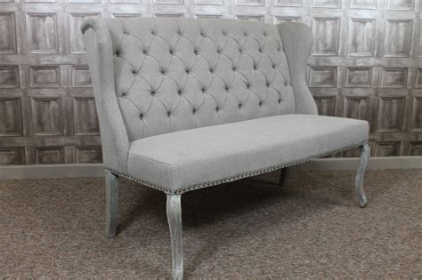 French style upholstered bench in stone linen