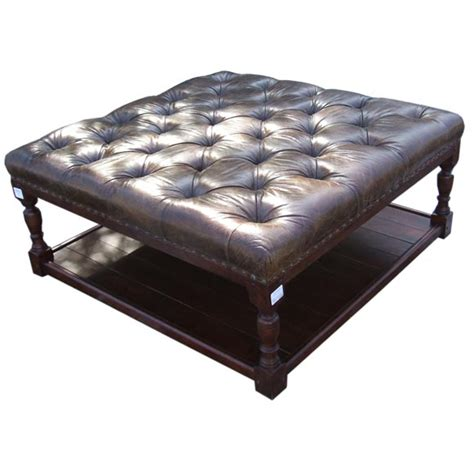 Leather Ottoman With Shelf vintage leather ottoman with shelf at 1stdibs