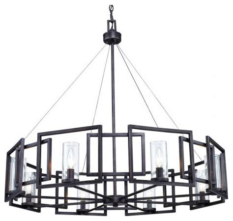 Modern Iron Chandelier Post Modern Black Iron And 8 Clear Glass Shades