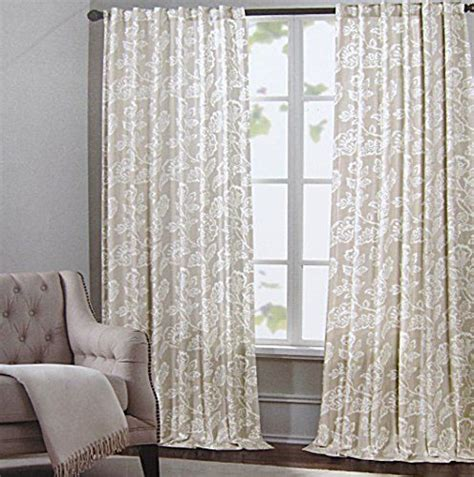 White And Beige Curtains Cynthia Rowley Floral Ikat Scrolls Window Panels 52 By 96 Inch Set Of 2 Floral Jacobean Scrolls