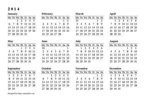 free yearly calendar template 2014 2014 printable calendar templates