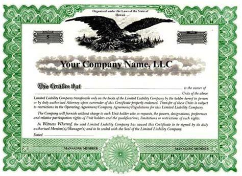membership certificate llc template