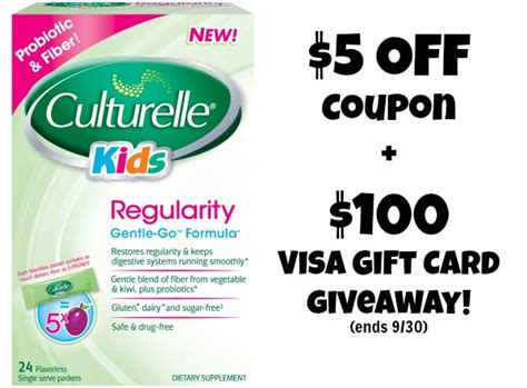 Visa Gift Cards Kids - 5 culturelle kids regularity coupon 100 visa gift card giveaway ends 9 30