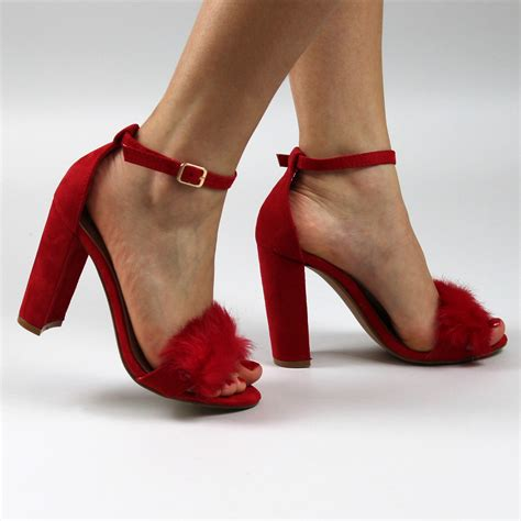 block heel high heels cut out ankle heels fluffy toe block heels