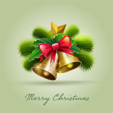 merry christmas bell pine bow vector  vector graphic