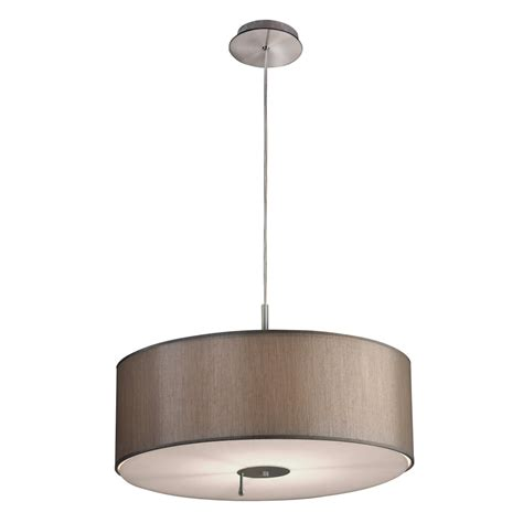 Nickel Taupe Dual Light Source Ceiling Pendant Lighting Drum Shade Ceiling Light