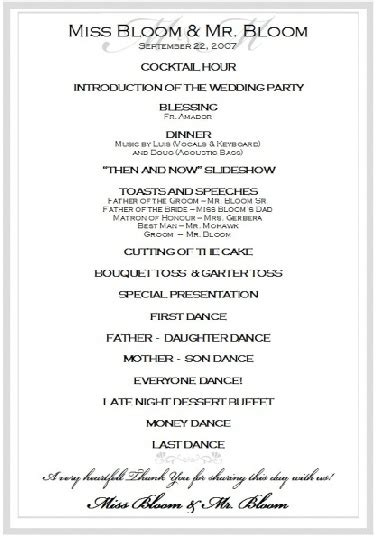 wedding mc layout sle wedding reception program ceremony pinterest