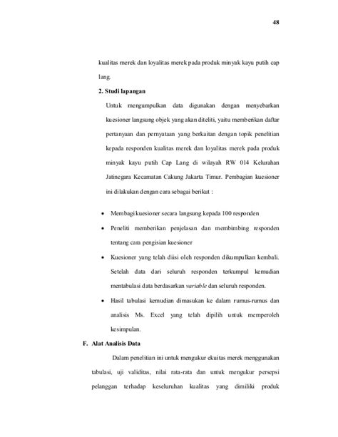 Minyak Kayu Putih Cap Lang Sedang analis persepsi kualitas merek dan loyalitas merek pada
