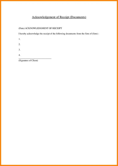 letter of receipt of documents template 7 acknowledgement receipt of documents report exle for