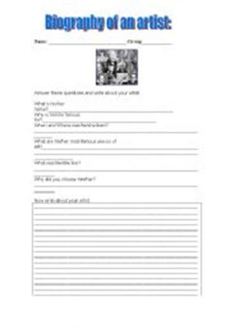 artist biography worksheet english teaching worksheets a an