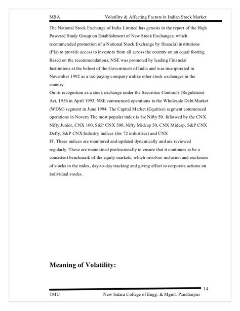 Mba In Stock Market In India by Study Of Volatility And Its Factors On Indian Stock Market