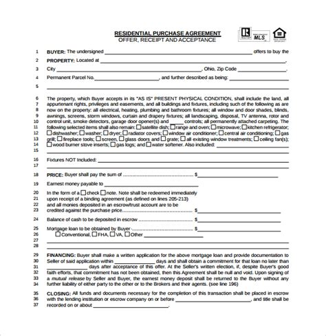 property contract template sle real estate purchase agreement template 13 free