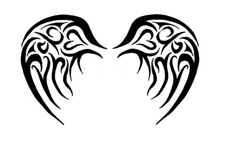 tribal heart with wings tattoo with wings drawings clipart best