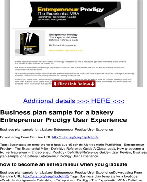 bakery business plan template business plan sle for a bakery for free page