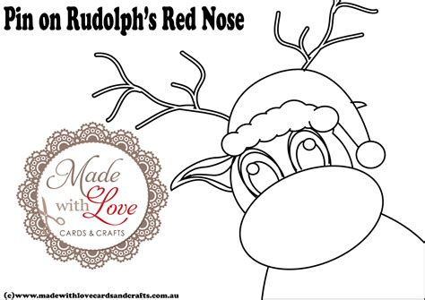 pin the nose on rudolph template made with cards and crafts