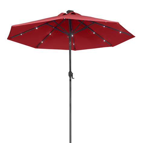 Solar Patio Umbrella Lights Sunergy 50140838 9ft Solar Powered Metal Patio Umbrella W 16 Led Lights Scarlet Ebay