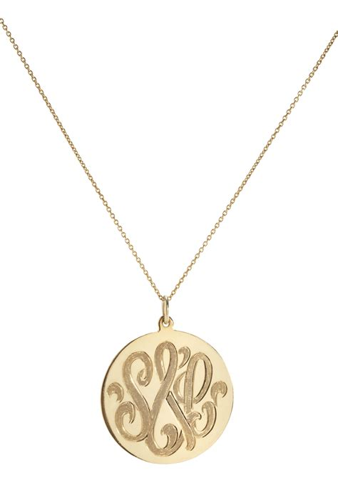 circle carved monogram necklace always by