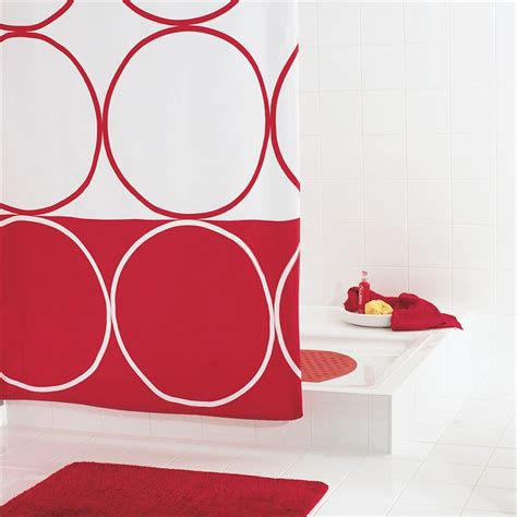 red and white shower curtain red and white shower curtain for modern bathroom