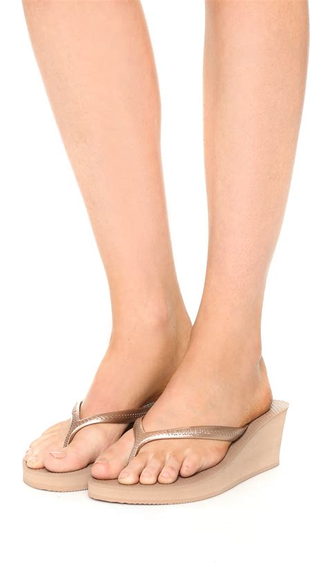 Wedges Fashion 3 havaianas high fashion wedge sandals in pink lyst