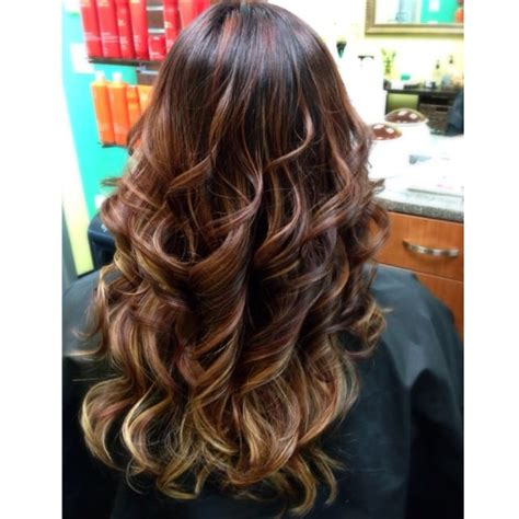 hair highlights bottom dark red base w red highlights more blonde highlights