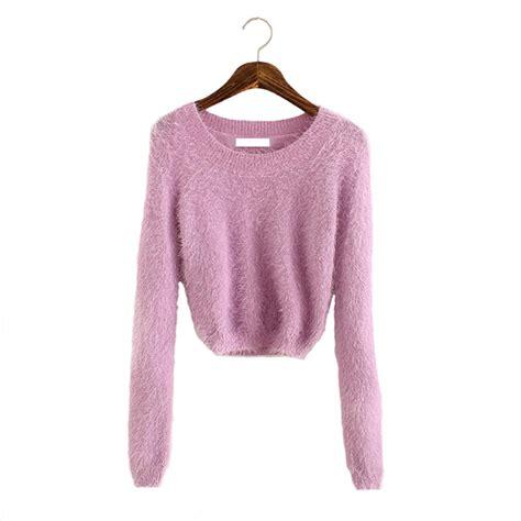 Kawai Sweater Pink fluffy sweater 2015 fashion crop top oversized sweater knitted korean kawaii fuzzy
