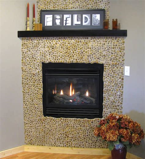 Pebble Tile Fireplace by Fireplace Tile Decorating Ideas Home Designs Project
