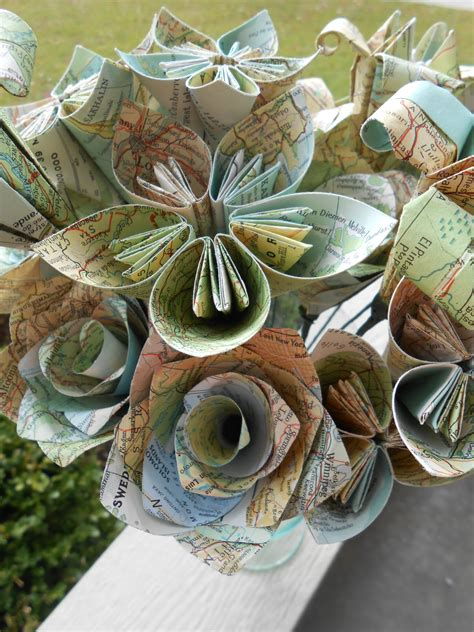 Vintage Origami Paper - vintage map paper flower bouquet world map origami paper
