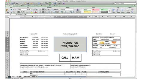 Cast Sheet call sheet template cast and crew call
