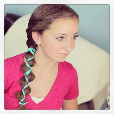 hairstyles for with hair ribbon accented loony braid hairstyle ideas