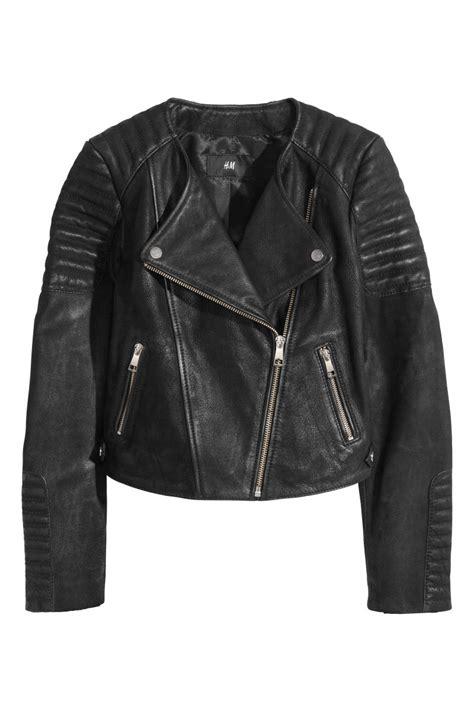 Lc Cuir Leather M leather biker jacket black sale h m us